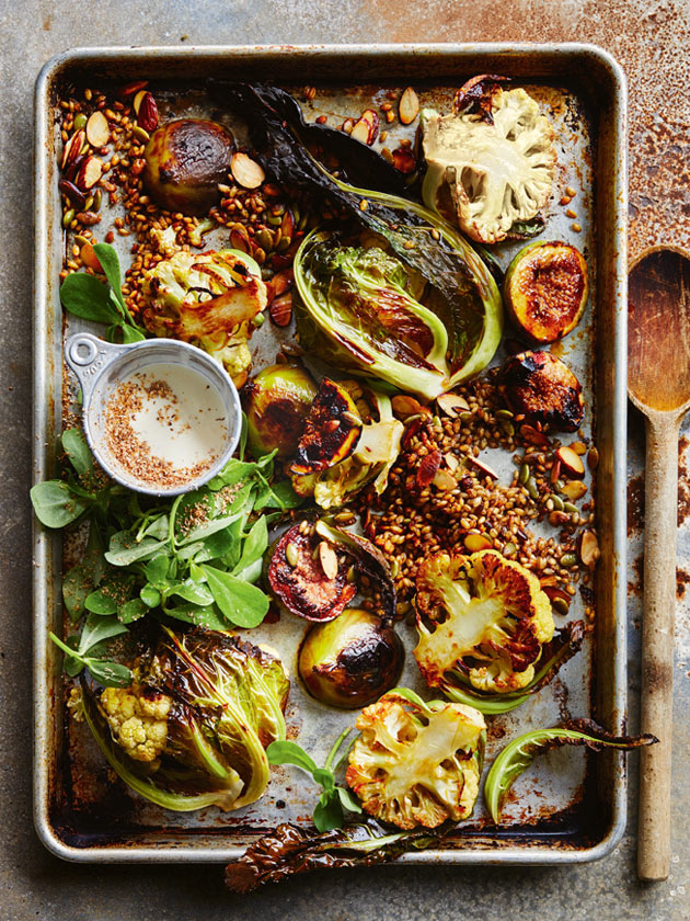 ONE-TRAY FAVOURITE  ROASTED CAULIFLOWER WITH BARLEY AND FIGS