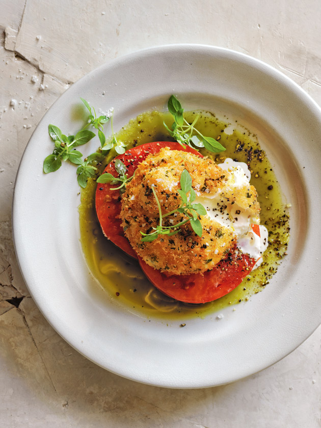 SIMPLE AND DELICIOUS TARRAGON-CRUMBED BURRATA, TOMATOES AND BASIL OIL