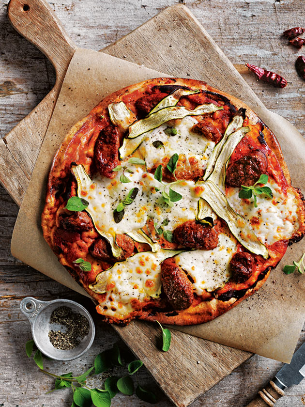 WEEKEND ENTERTAINER TOMATO, CHORIZO AND ZUCCHINI CHEAT'S PIZZA