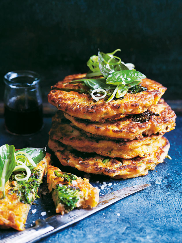 SPICE UP YOUR BREKKIE BROCCOLINI, BASIL AND KIMCHI PANCAKES