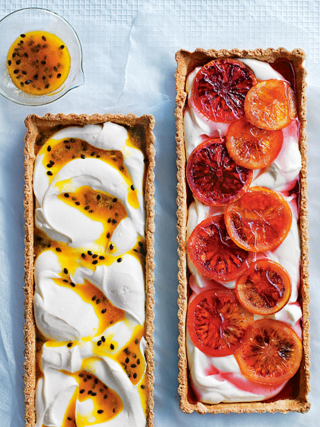 IN SEASON PASSIONFRUIT AND BLOOD ORANGE RICOTTA TARTS