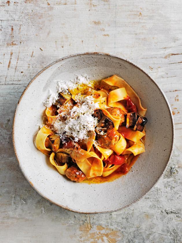 Tomato eggplant and sausage pasta