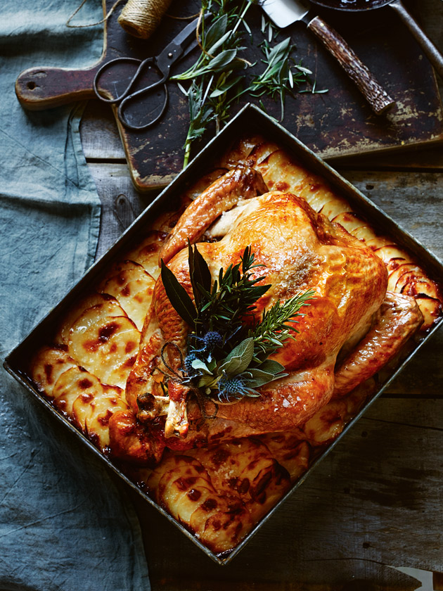 roast turkey with pear and potato gratin