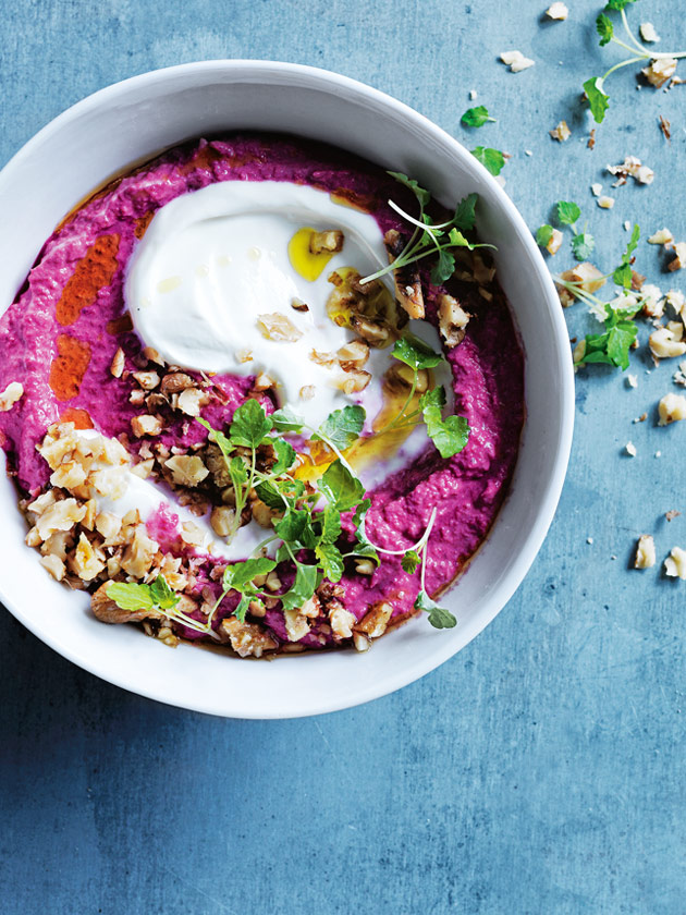 Beetroot and cumin hummus with toasted walnuts