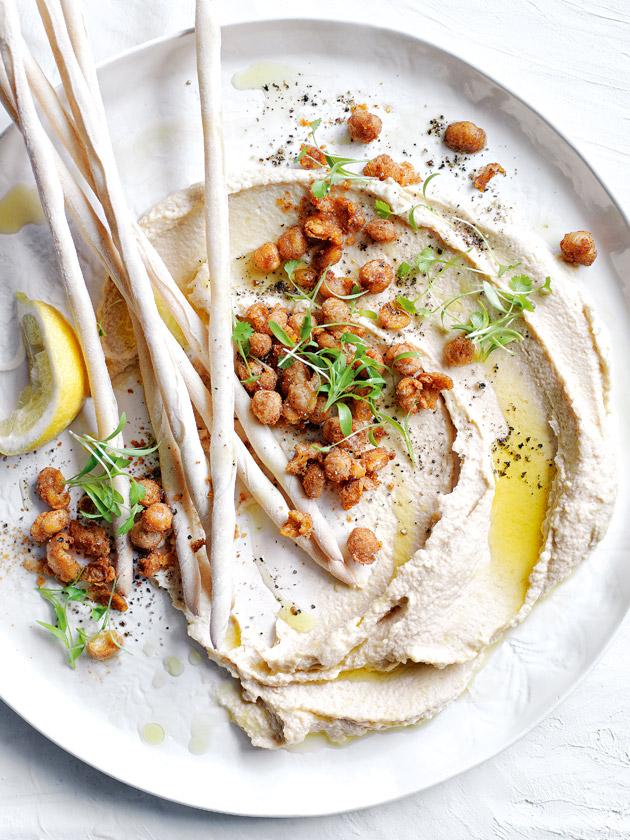 Hummus with spiced crispy chickpeas