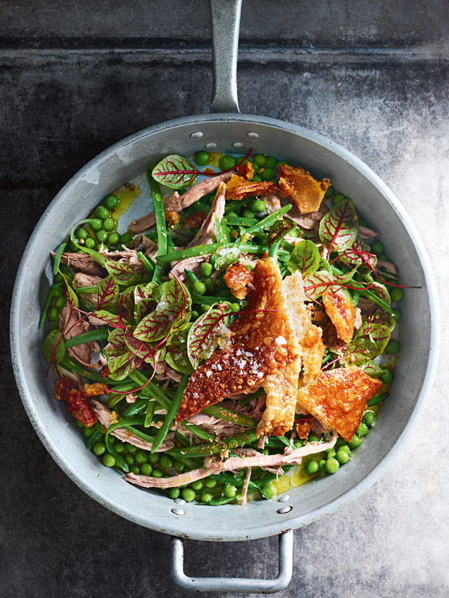 crispy slow-cooked pork shoulder, green bean and pea salad