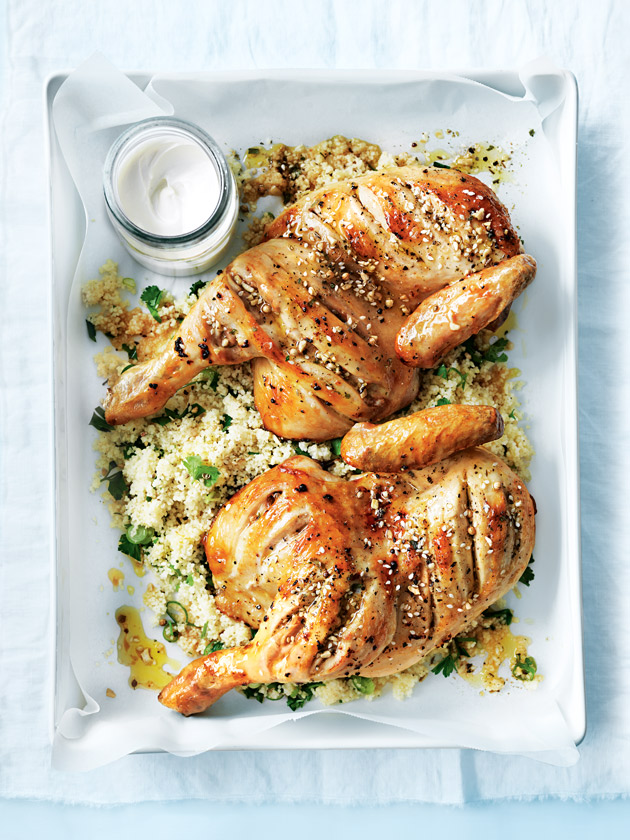 Dukkah Roasted Chicken With Couscous And Tahini Yoghurt | Donna Hay