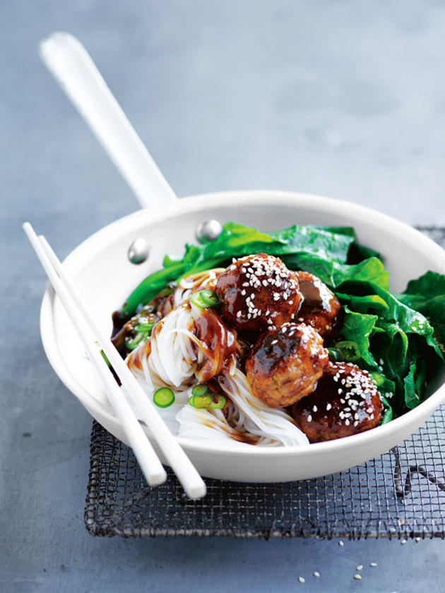 Hoisin Glazed Pork Meatballs With Rice Noodles | Donna Hay
