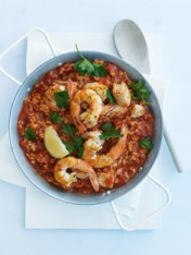 chicken, prawn and tomato paella