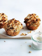 apple, oat and coconut bircher muffins