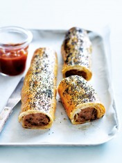 beef and caramelised onion sausage rolls