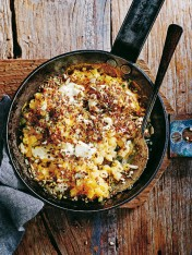 butternut mac and cheese with rosemary and seed topping