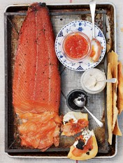 campari and dill-cured salmon with lavosh and caviar