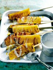 caramelised pineapple skewers with rum drizzle