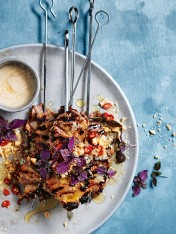 char-grilled tahini pork skewers