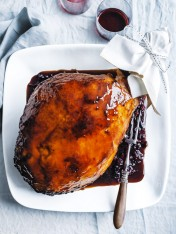 slow-cooked cranberry and  port ham