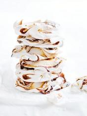 salted caramel swirl meringues