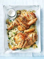 dukkah-roasted chicken with couscous and tahini yoghurt
