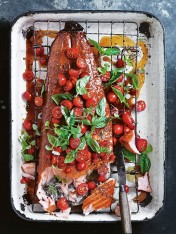 honey wood-smoked salmon with quick-pickled tomato