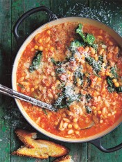 italian braised beans with tomato and rosemary
