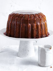 marble chai bundt cake with maple syrup