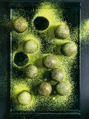 matcha almond and hazelnut bliss balls
