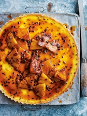passionfruit tart with caramelised rum pineapple