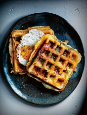 smoky chorizo, haloumi and spinach breakfast waffles