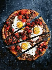 spicy lamb pizza with vine-ripened tomatoes