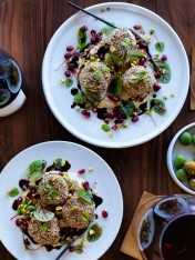 spiced sesame lamb patties with baba ghanoush and pomegranate