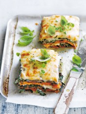 sweet potato, eggplant and cauliflower bechamel lasagne