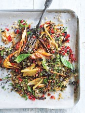 quinoa, roasted fennel and pomegranate tabouli