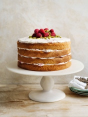 almond and rosewater layer cake with honey icing