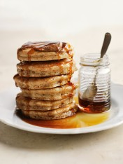 almond pancakes with spiced almond butter and maple syrup