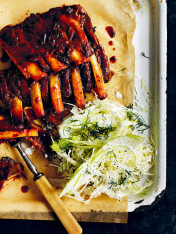 american-style sticky pork ribs with fennel and apple slaw