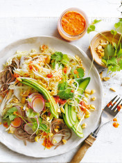 asian noodle salad with red chilli dressing