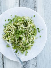 char-grilled asparagus and parsley pesto pasta