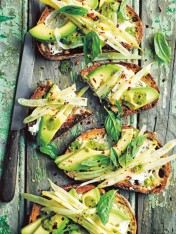 avocado and labne toast with basil oil