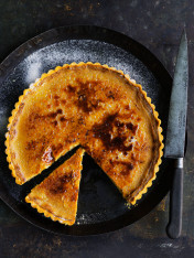 baked caramel custard brûlée tart