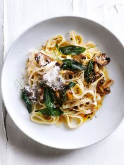 balsamic and burnt-butter mushroom fettuccine