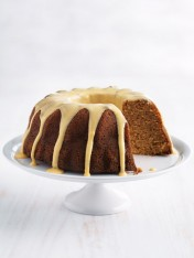 banana bundt cake with passionfruit icing