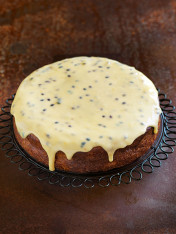 banana cake with passionfruit icing