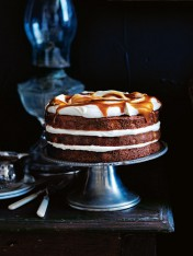banana layer cake with honey cream and whiskey caramel