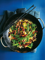 beef and broccolini in oyster sauce stir-fry