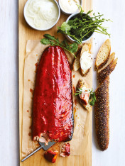 beetroot and maple glazed salmon with horseradish cream