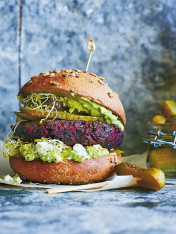 beetroot quinoa burgers with avocado smash
