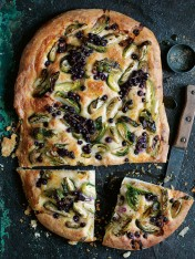blackcurrant, brussels sprout and cheese flatbread