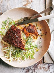 blackened salmon with creamy yoghurt celeriac salad