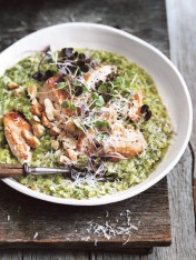 broccoli quinoa risotto with seared chicken