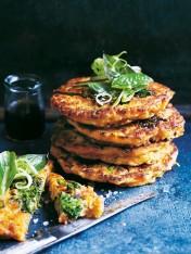 broccolini, basil and kimchi pancakes